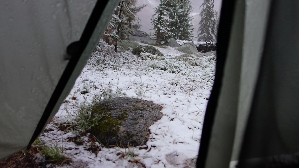 Snow accumulating outside the tent.     Laura Lancaster