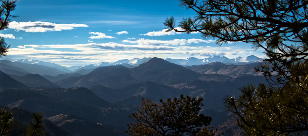 Looking west from the top of Lookout Mountain near Denver, one of Thiry's favorite road biking rides.