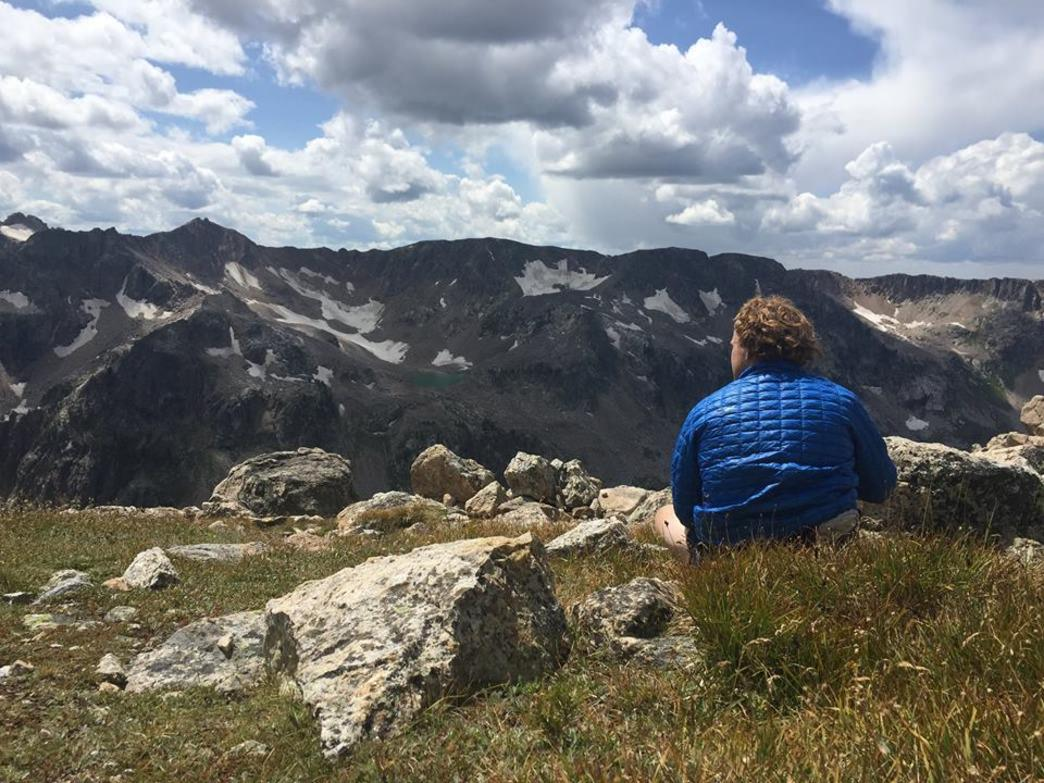 Jake taking in the views of Cascade Canyon and Lake Solitude
