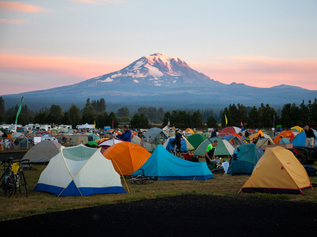 Cycle Oregon riders camp outside rural communities each night during the weeklong ride.
