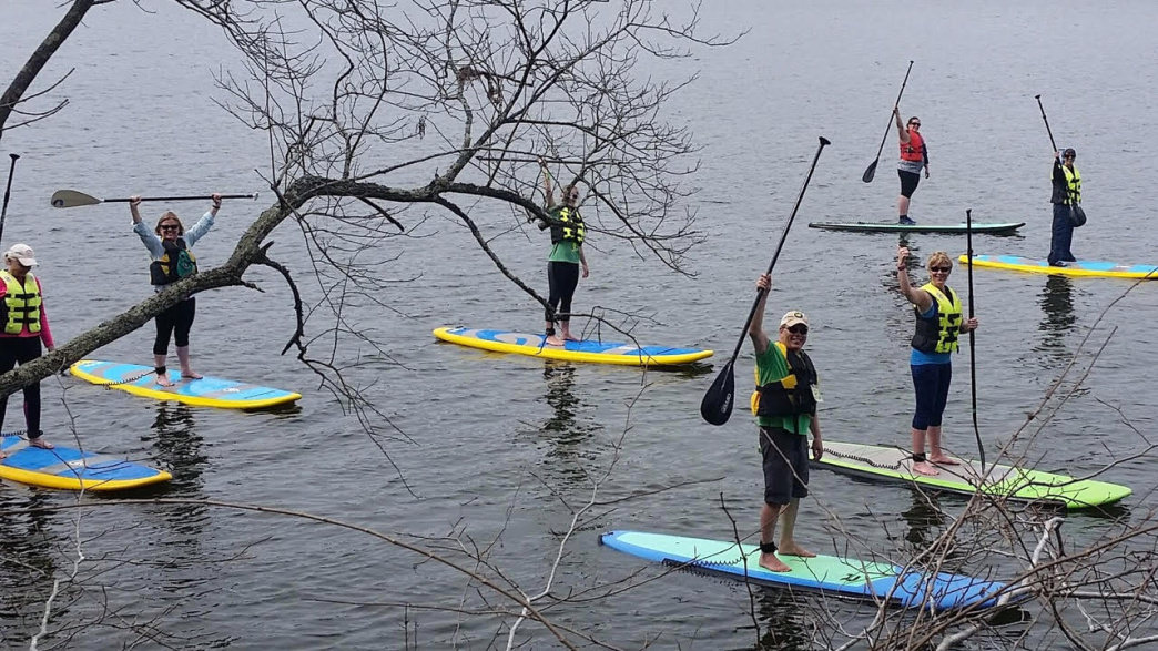 Intro to SUP, SUP yoga, and SUP cardio classes are offered by Winston-Salem outfitter Triad ECO Adventures.