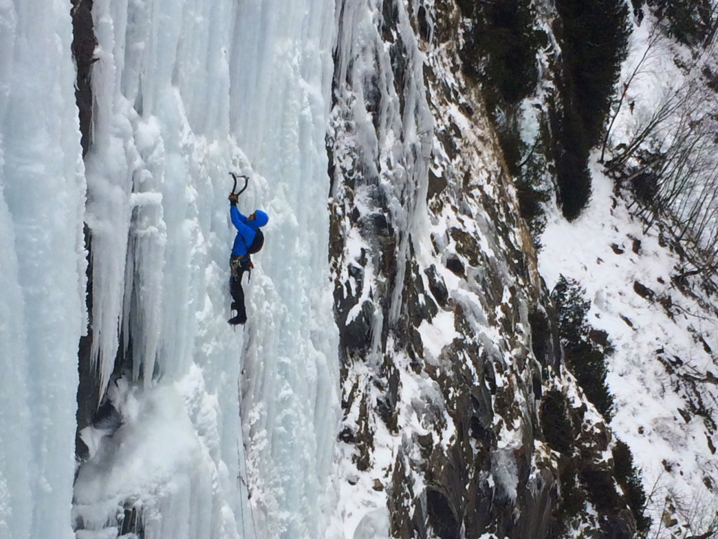 Ice climbing Glass Menagerie at Lake Willoughby.