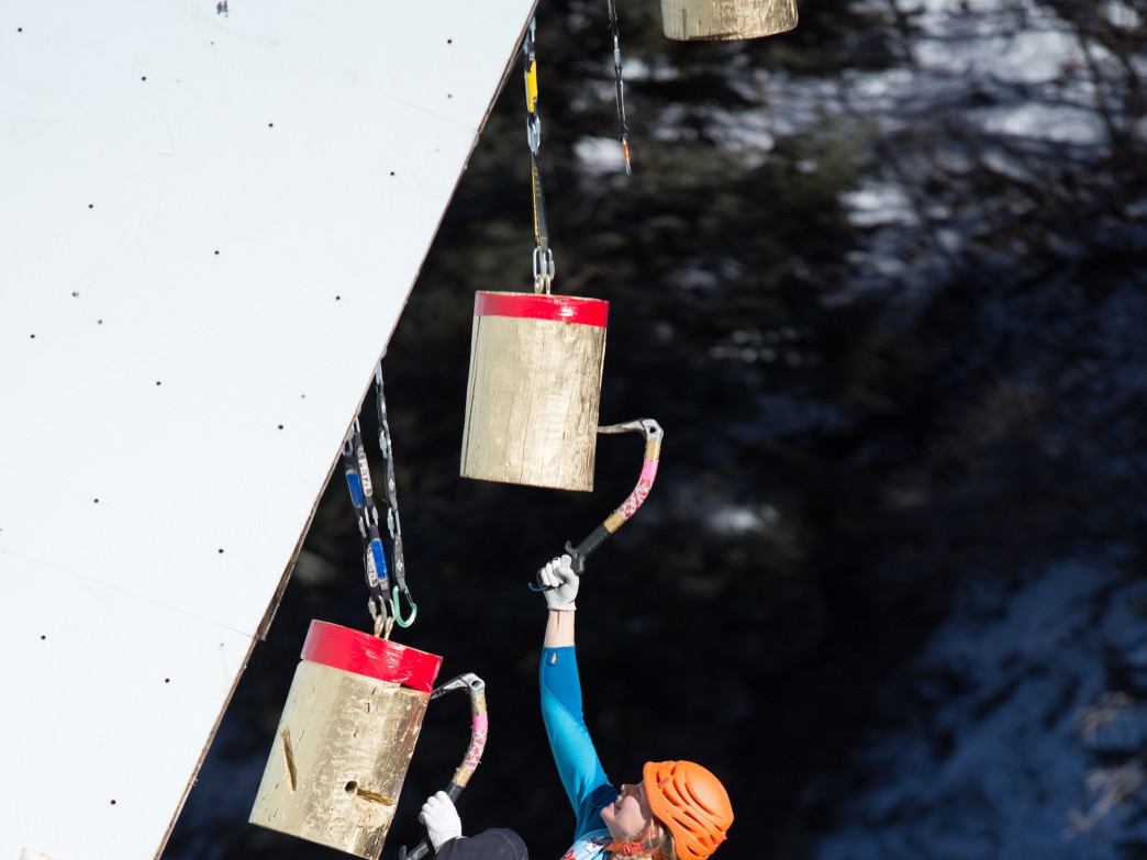 Jen Olson makes the final push on the comp wall to take second in the women's division at the 2014 Ouray Ice Festival