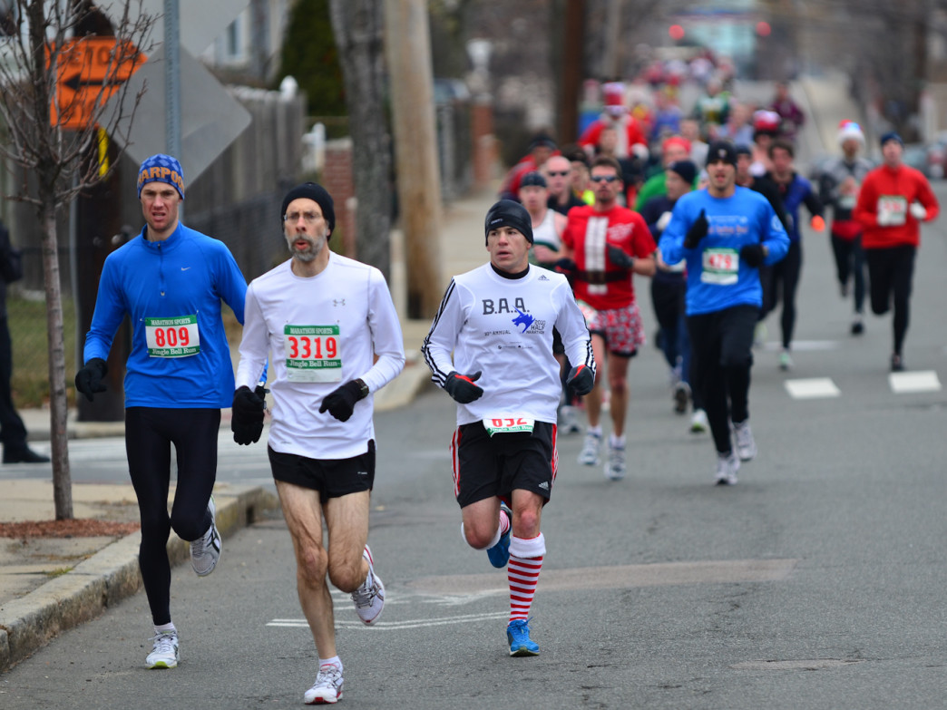 Boston runners brave a chilly 5K on a course through Somerville.
