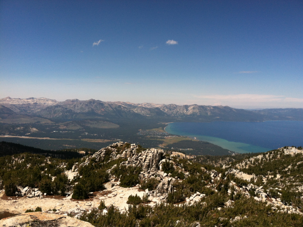 The view of Lake Tahoe from 10,067 foot Monument Peak, accessible from the Van Sickle connector trail.