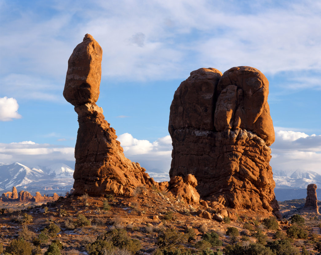 Balanced Rock with the La Sal Mountains in the backdrop.
