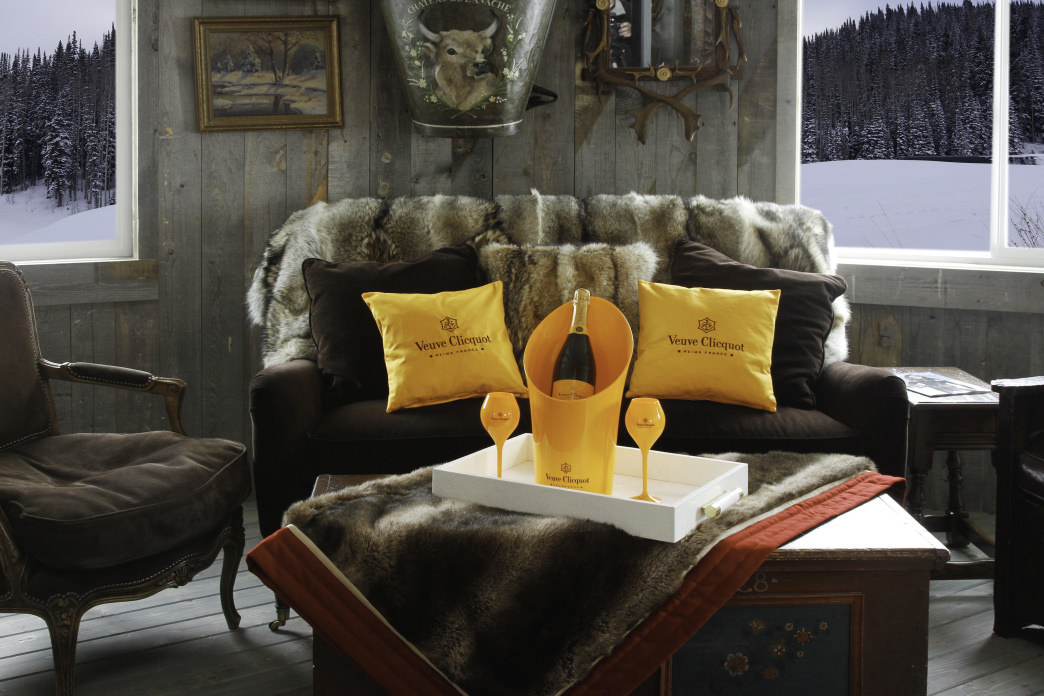 Sipping champagne at the Veuve Clicquot apres ski lounge at Montage Deer Valley.