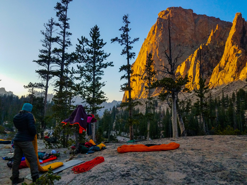 Alpenglow illuminates the 1,000-foot Elephant's Perch, considered by many to be Idaho's best piece of stone.