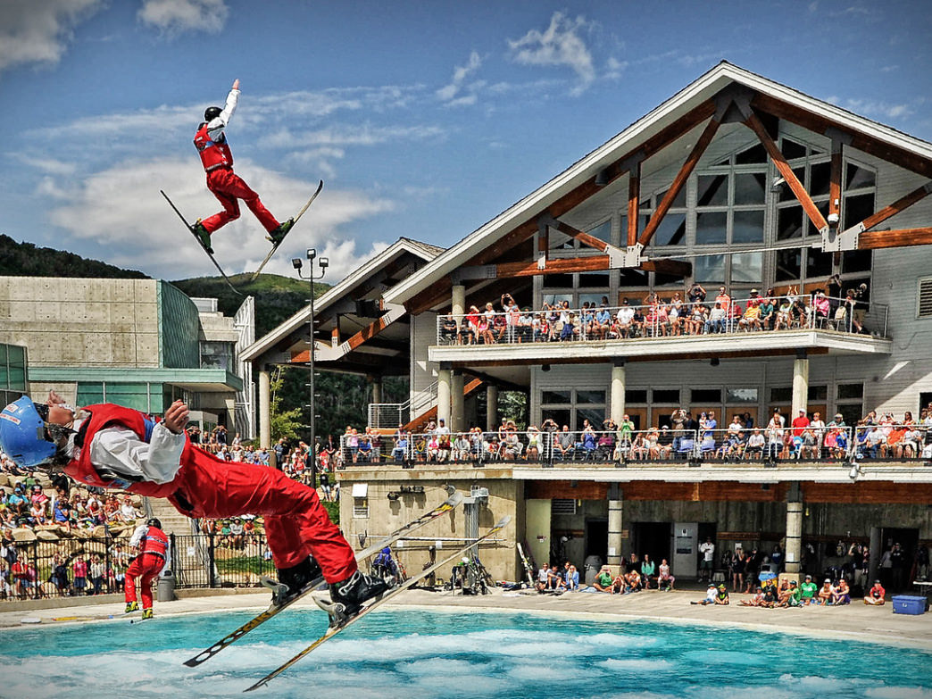 The Flying Ace Freestyle Show is a big draw at the Utah Olympic Park in the summer.