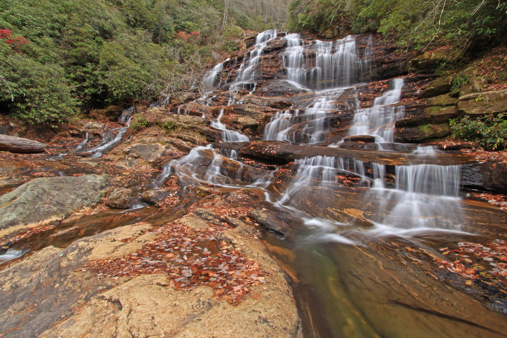 Glen Falls is located in the Nantahala National Forest near the town of Highlands.