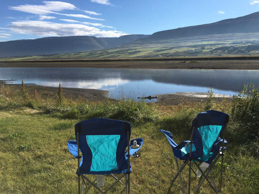 Driving to campsites at the outskirts of bigger towns pays off in spades. Outside of busy Akureyi in North Iceland, Hrafnagil is a placid spot along a geothermally heated river.