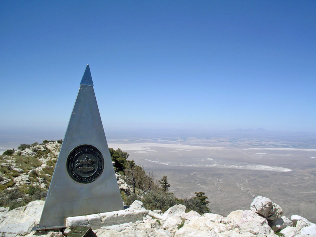 Monument on the summit of 8,750' Guadalupe Peak, the highest point in Texas.