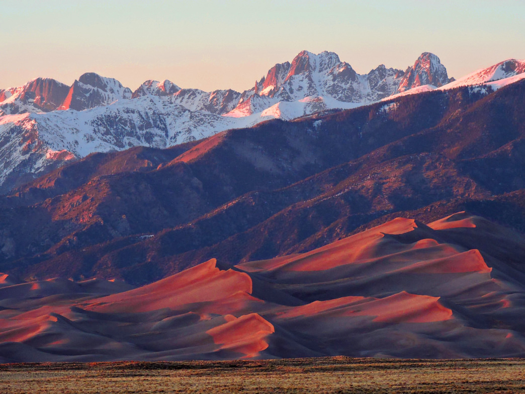 The Sangres get their name from the reddish color the mountains turn at sunrise and sunset.
