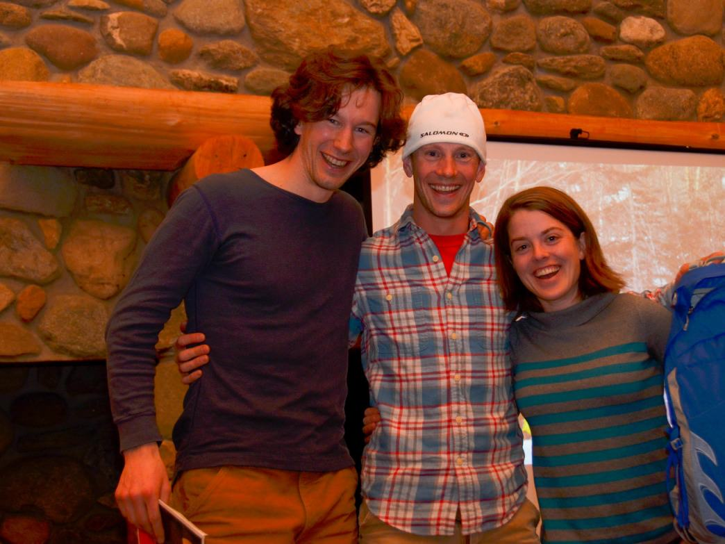 Friends celebrating a fun day in the backcountry together...the prize is nice too!