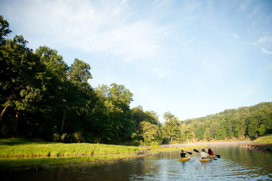 The 50-acre lake is wonderful for a break after hitting the trails.      Michelle Waters