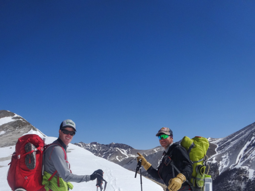 Ted Mahon and Chris Davenport on the approach to Stewart Peak at 13,983 feet.