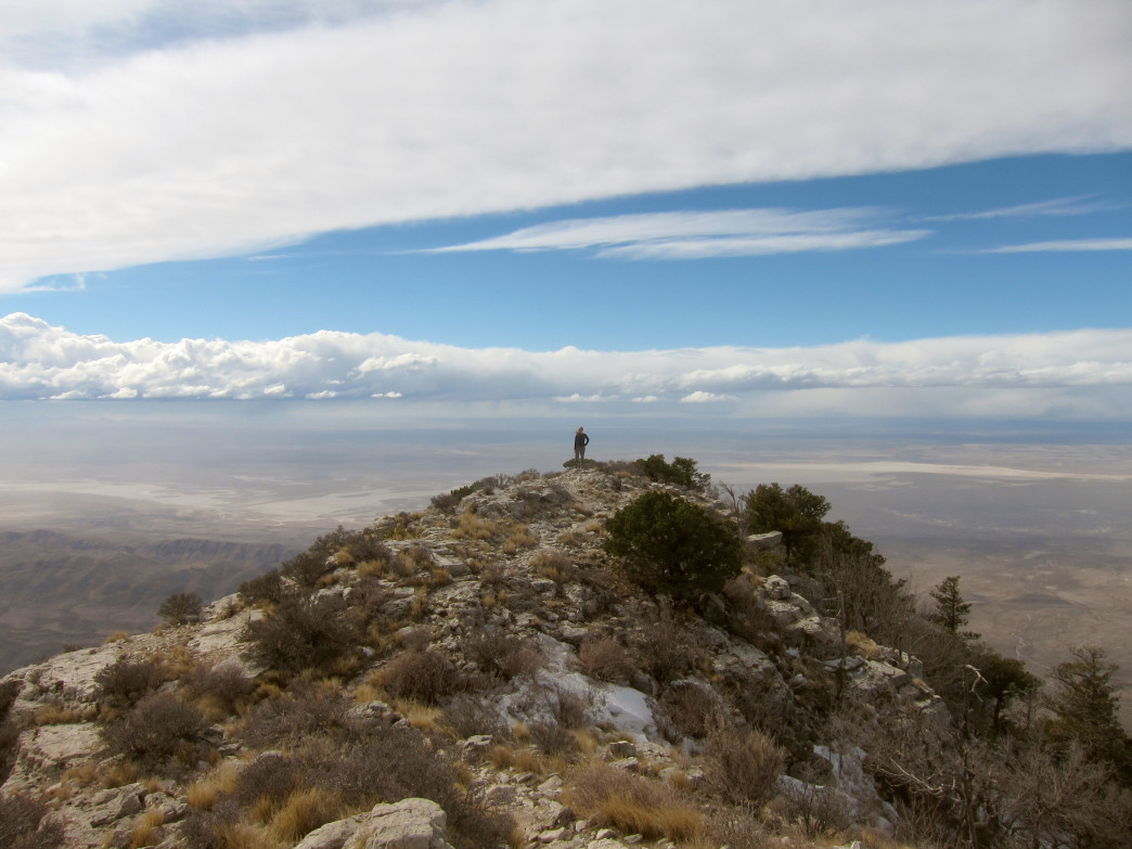 A hiker on Guadalupe Peak.