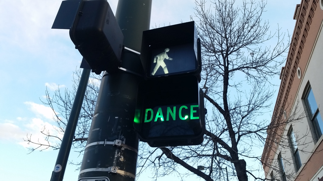 Why stand when you could dance, asks this stoplight in Greeley, Colorado.