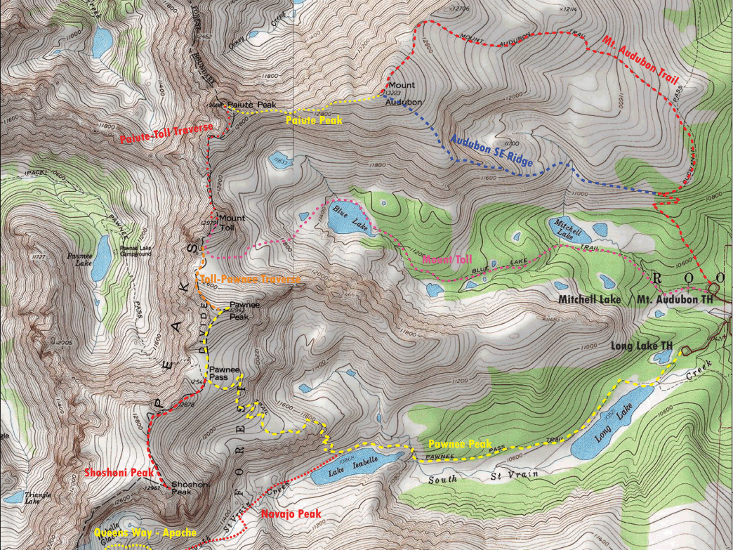Summit routes from Brainard Lake.