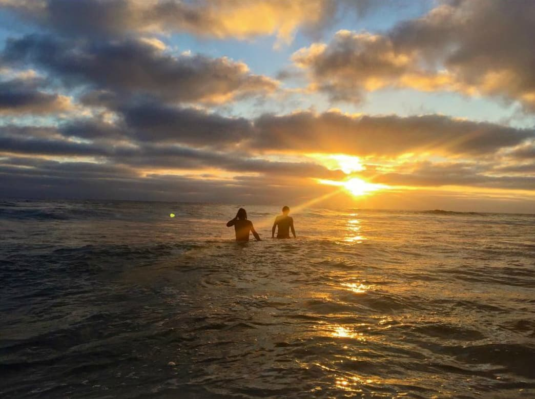 Sunset body surfing in San Diego