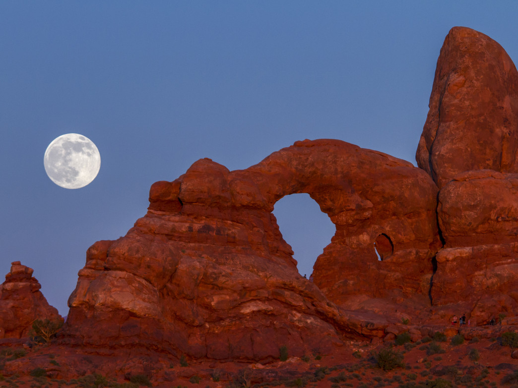 Moon over Arches National Park.