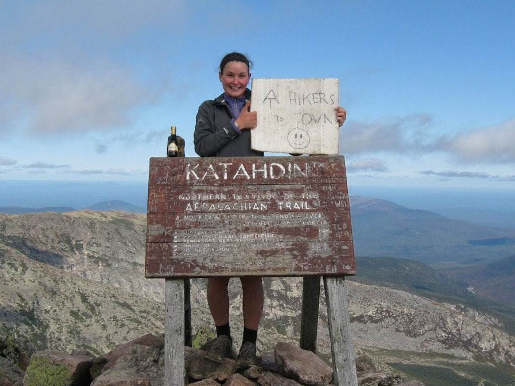 At the summit of Mt. Katahadin—the northern terminus of the Appalachian Trail
