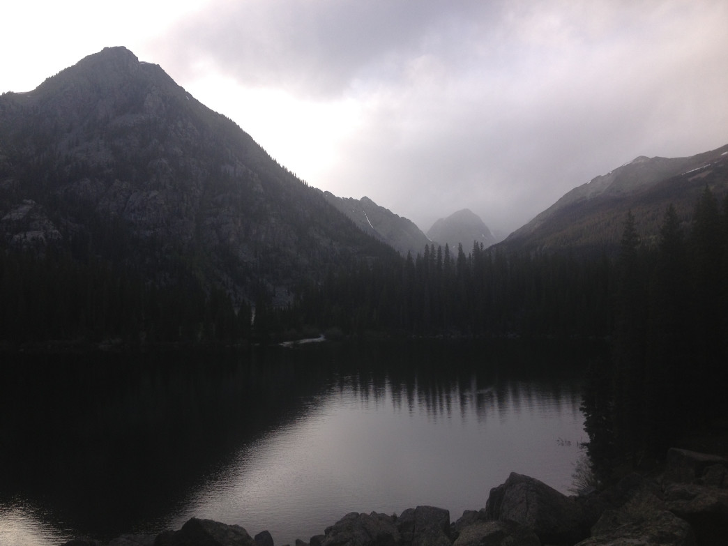 A snow-curtain in early June offers a dreamy quality to Emerald Lake.
