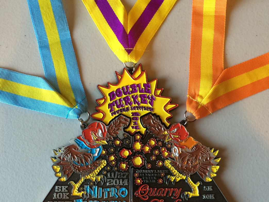 A sneak peak at the finisher's medals for this year's Quarry Turkey (and Nitro Turkey) races.