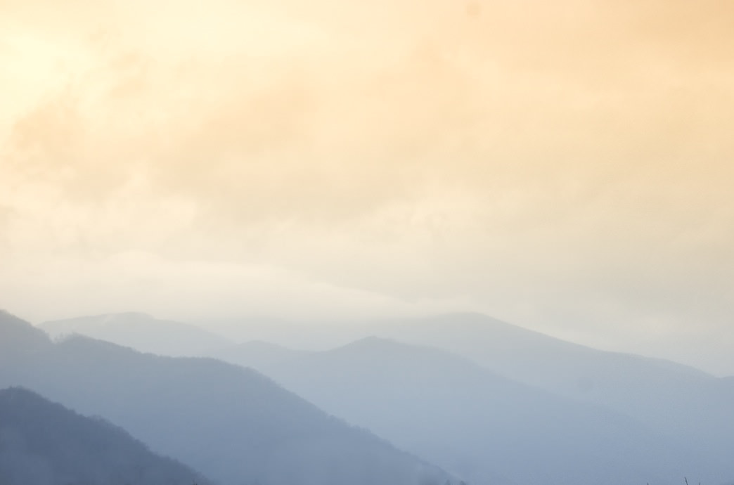 The Smoky Mountains surrounding Robbinsville, NC, take on a dreamy quality.