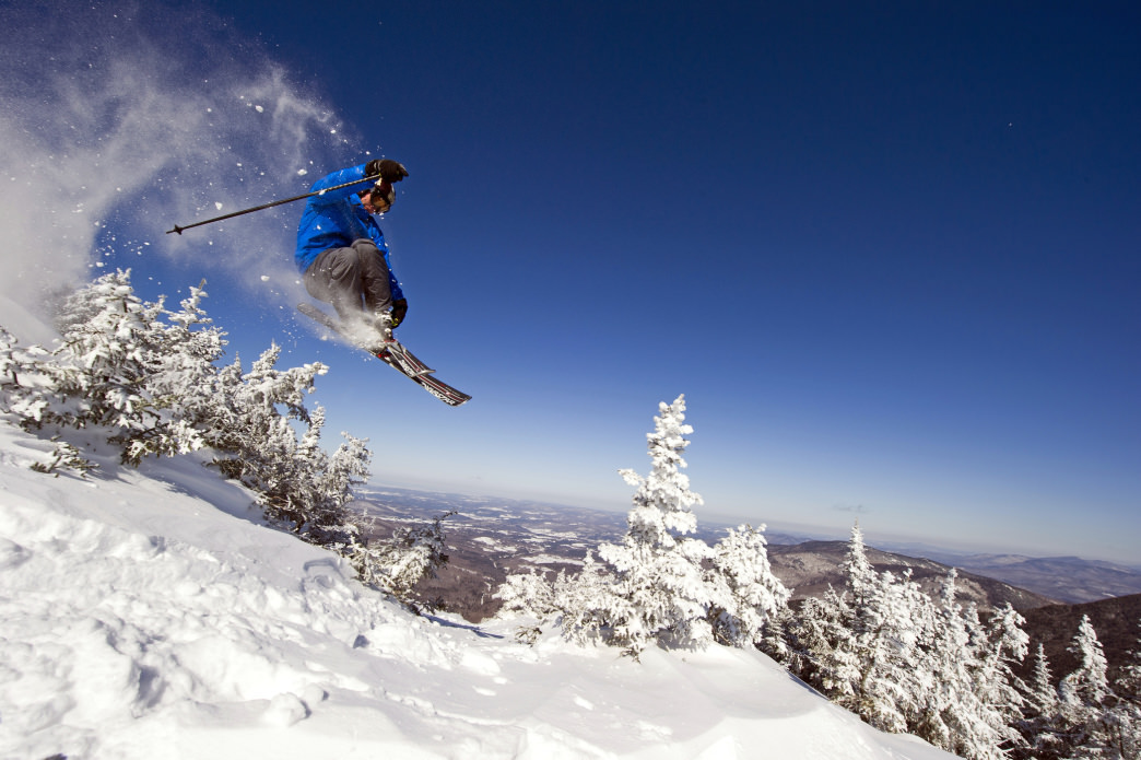 Catching some air in the backcountry at Smugglers' Notch.