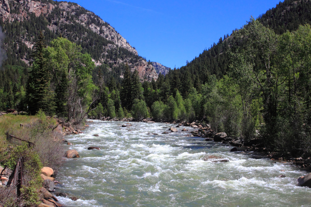 The scenic white waters of the Animas River.