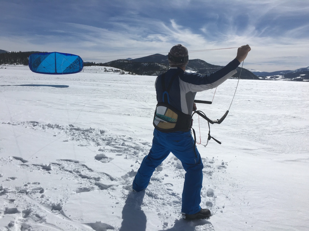 Anton Rainold of Colorado Kite Force demonstrates the technique for launching an inflatable kite in low wind.