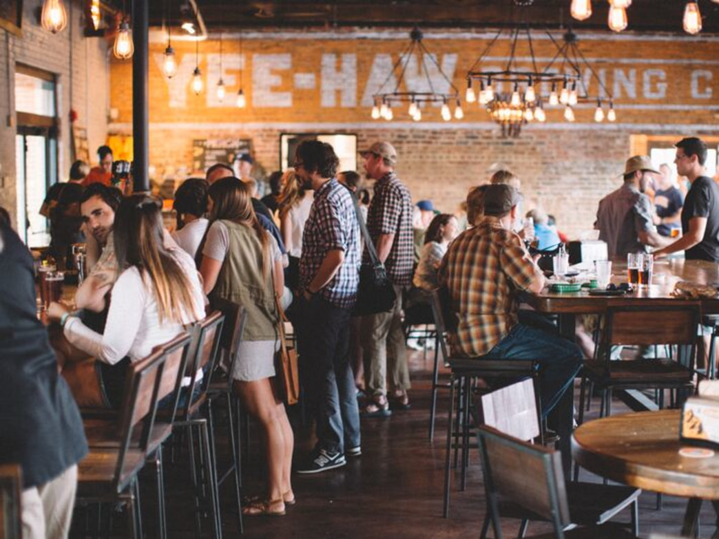 The bustling taproom at Yee-Haw Brewing Company.