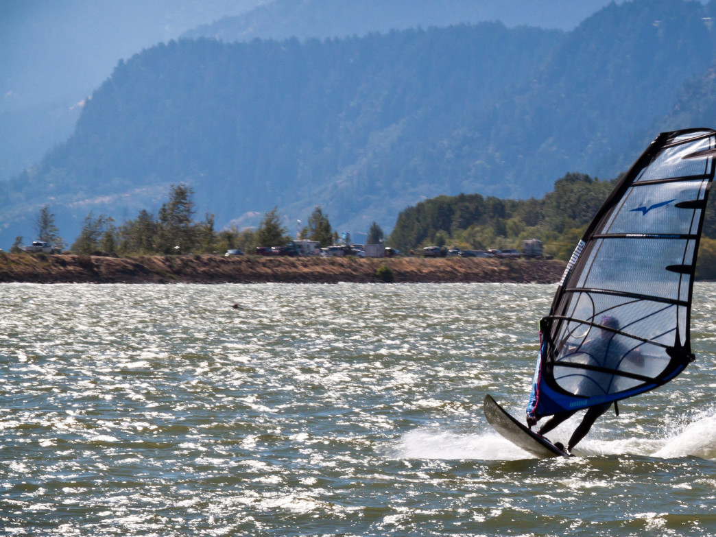 The Hood River is a perennially popular spot for windsurfing.
