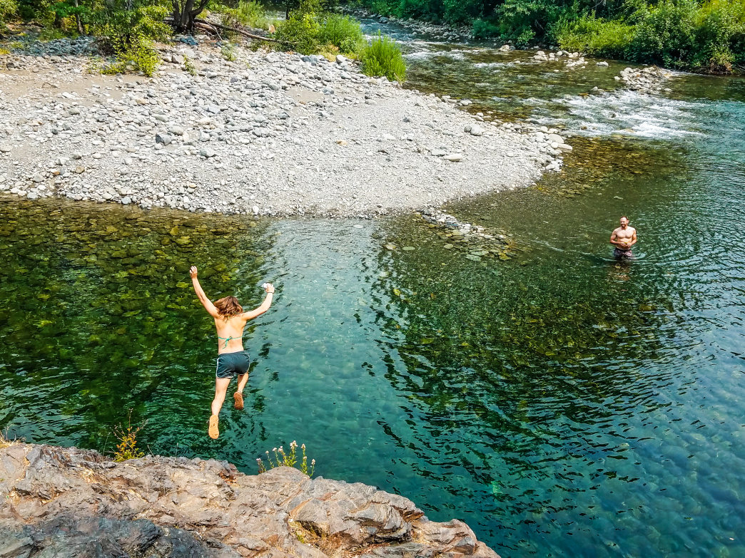 The emerald waters of the Klamath River's tributaries provide endless swimming options during northern California's endless summers.