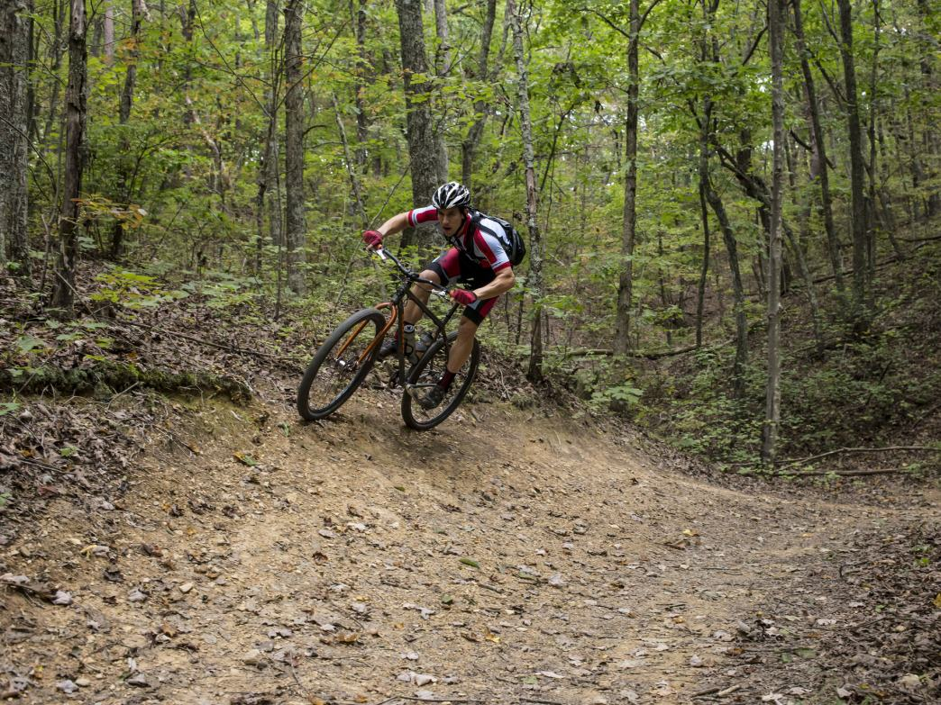 Five Points has no shortage of high-speed flow, including this berm on the Slickensides Trail