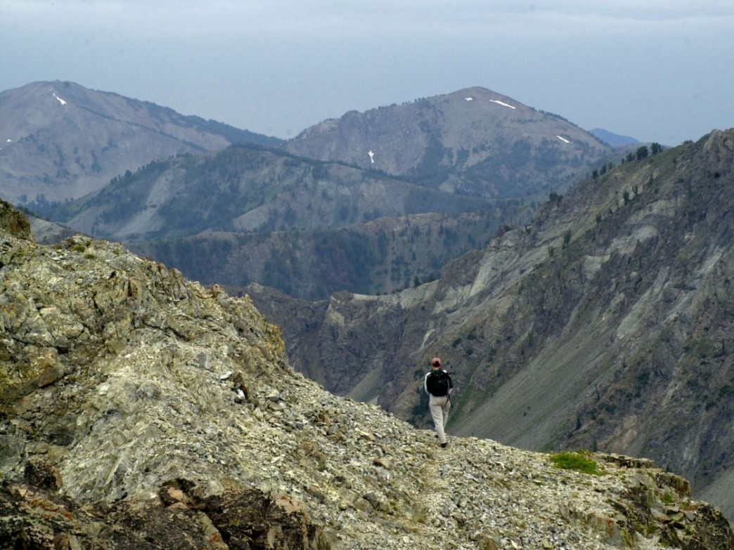 A trail to peaks in the Smoky Mountains near Ketchum runs along a ridge with options to bag several peaks in one day.