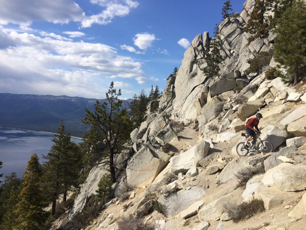 The trails have steep drop-offs, but give way to sensational views of Lake Tahoe on the Flume Trail.