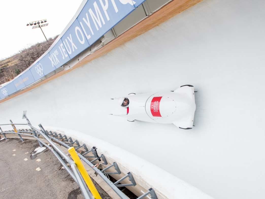 Speeding down the bobsled run at Utah Olympic Park. Visitors can watch some of the best in the world take on the twists and turns as well as take a ride themselves.