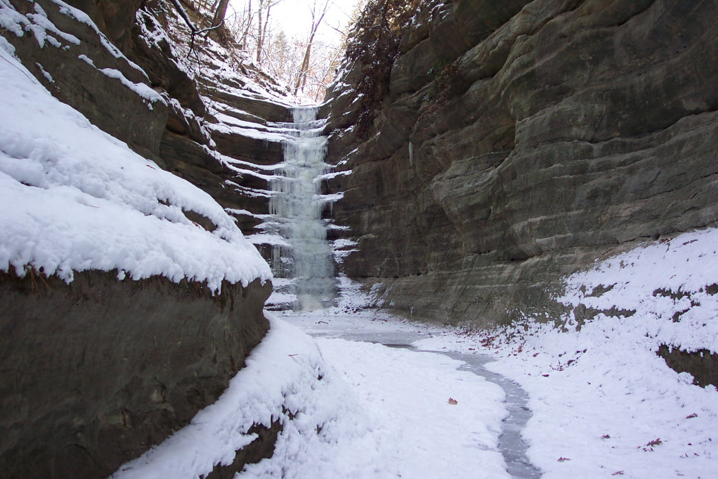 Frozen waterfalls are just one of the draws at the Starved Rock State Park in the winter.