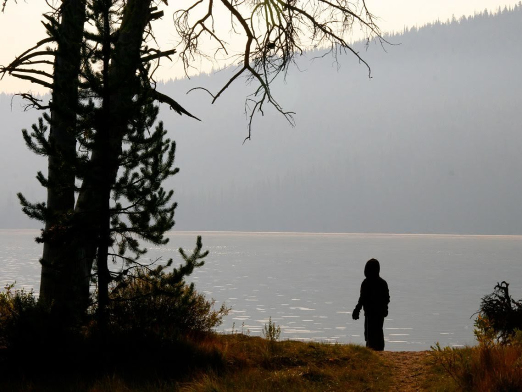 Bundle up when camping and paddling along Stanley Lake in October.