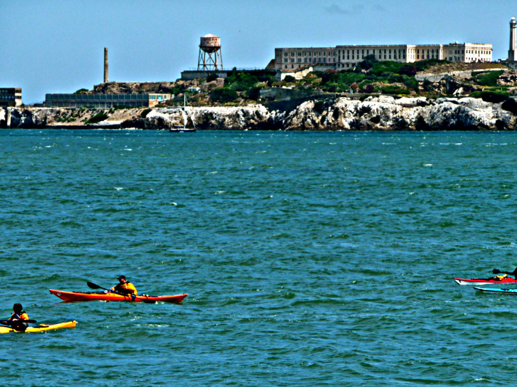 Paddlers make their way around the bay with Alcatraz in the background.