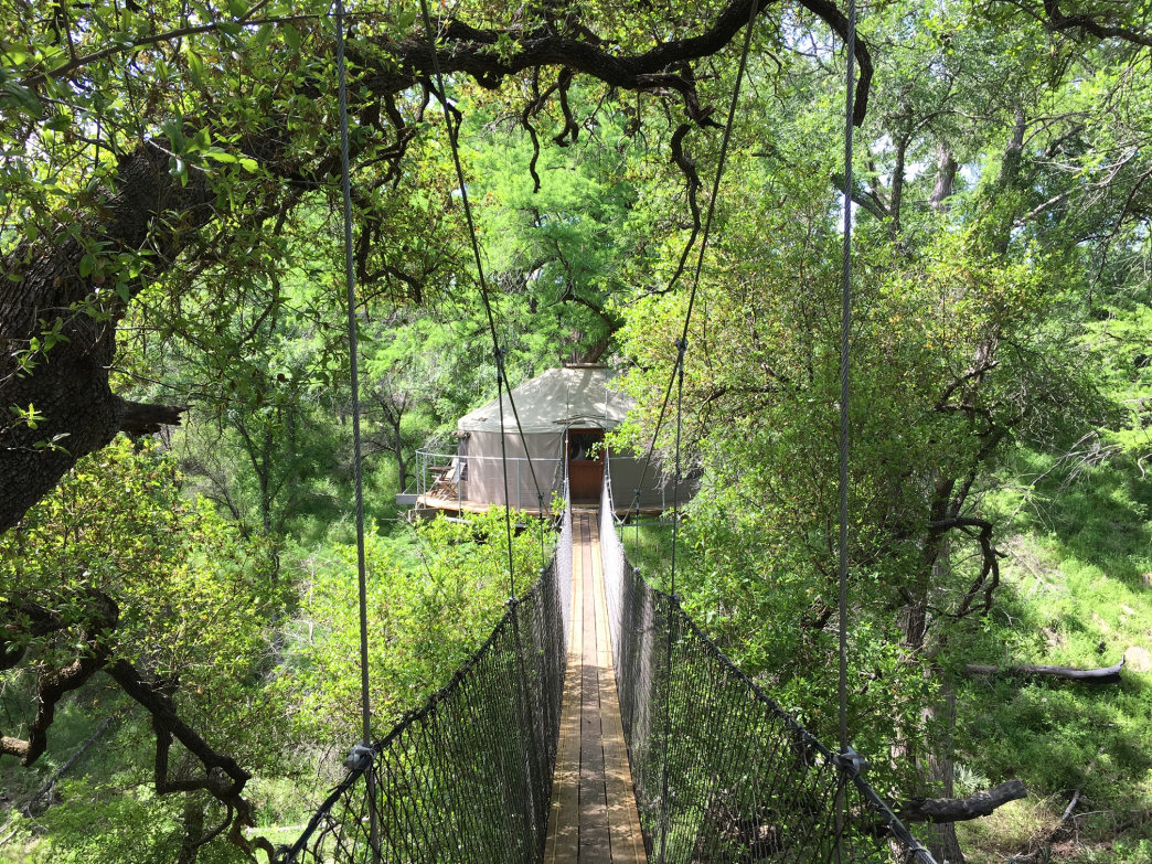 Glamping high in the treetops at Cypress Valley Canopy Tours.     Ashley M. Halligan
