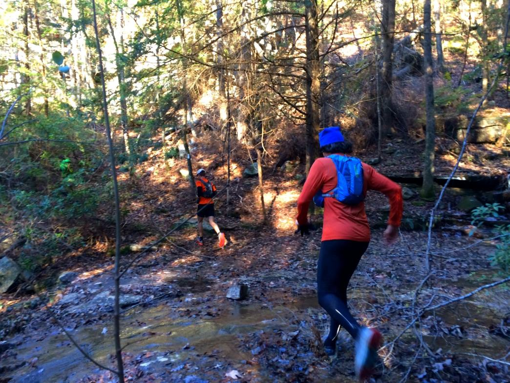Splashing through the leaves and mud on the Cumberland Trail