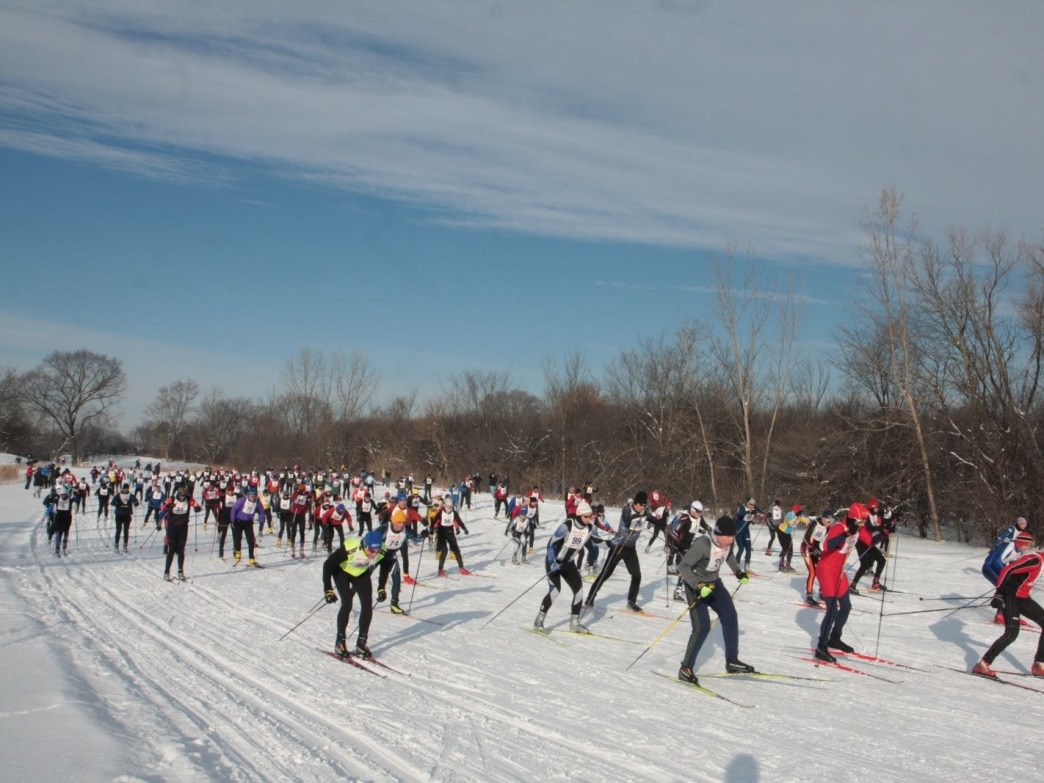 The start of the Illinois Northern Nordic race held at the Arrowhead Golf Course.