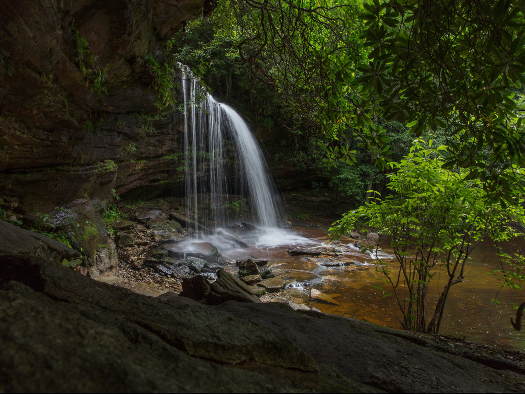 Schoolhouse Falls in Panthertown Valley is a must-see when you visit Jackson County, North Carolina.