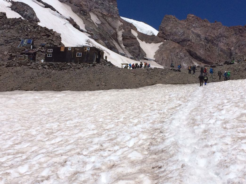 The trail leading to Camp Muir, Mt. Rainier's base camp.