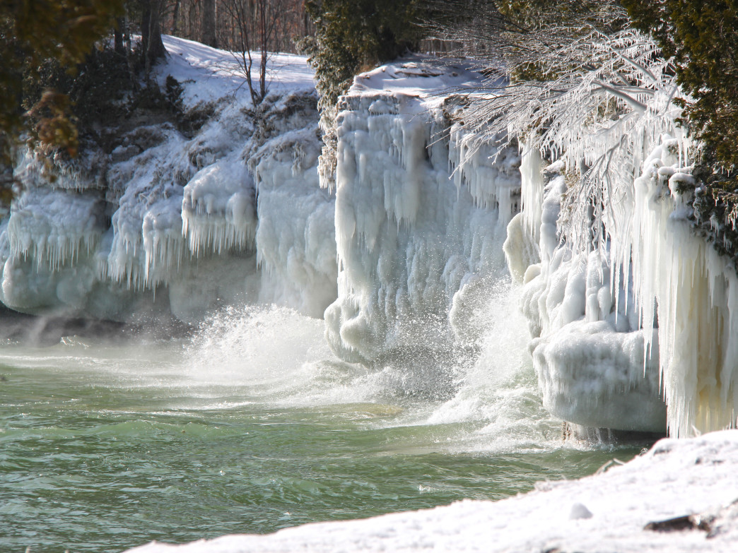 Cave Point County Park is just one of the impressive winter landscapes to visit in Door County.