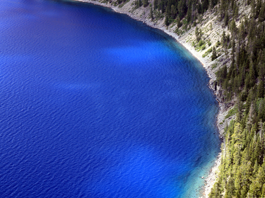 The stunning blue waters of Crater Lake.