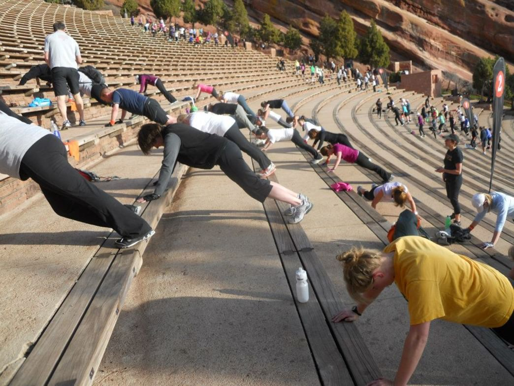 The infamous stairs at Red Rocks lend themselves to plank holds and pushups.